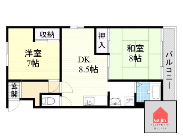 Hankyu Kobe & Takarazuka line, Kanzakigawa & Mikun, 2 Bedrooms Bedrooms, ,1 BathroomBathrooms,Apartment,Osaka,1539